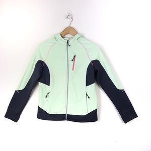 REI Girls Hooded Front Zip Sweater W/Thumb Holes